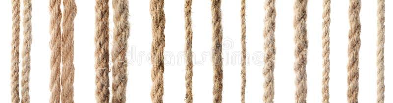 Metta con differenti corde della canapa fotografia stock libera da diritti