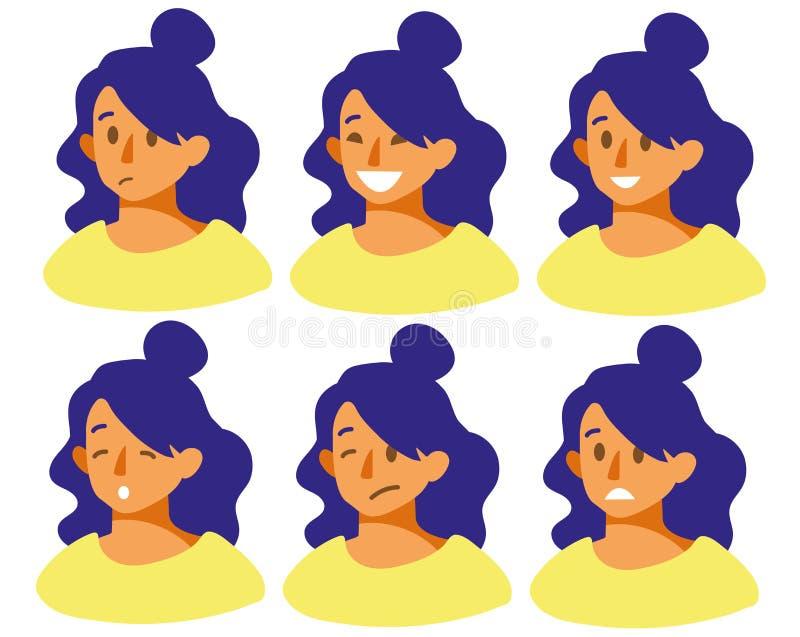 Metta con differenti emozioni sulla gioia del fronte della ragazza s, la tristezza, il sorriso, la rabbia, il timore, l'irritazio illustrazione di stock