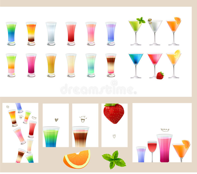 Metta con differenti generi di bevande - i cocktail, il vino, il succo, la birra, l'acqua illustrazione di stock