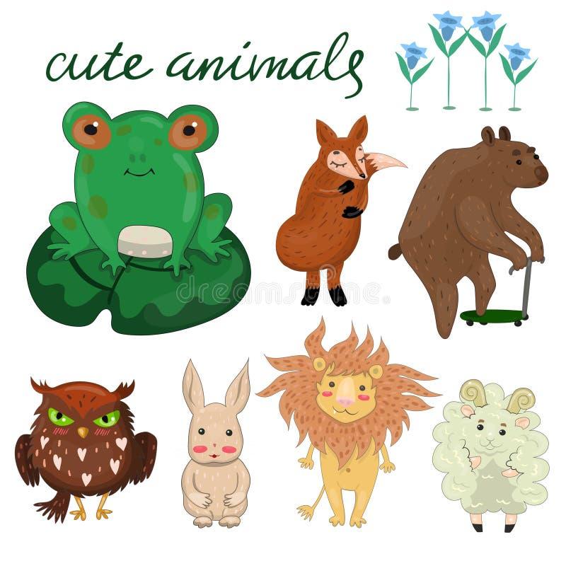 Metta con gli animali svegli per le carte, i manifesti, gli autoadesivi e l'altra immagine di vettore illustrazione vettoriale