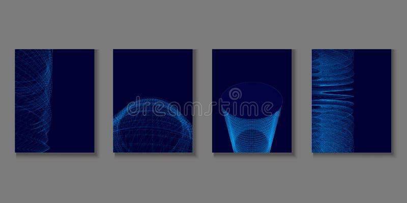 Metta con gli opuscoli geometrici Fondo poligonale quattro delle linee blu su un fondo scuro 3d Illustrazione di vettore illustrazione vettoriale