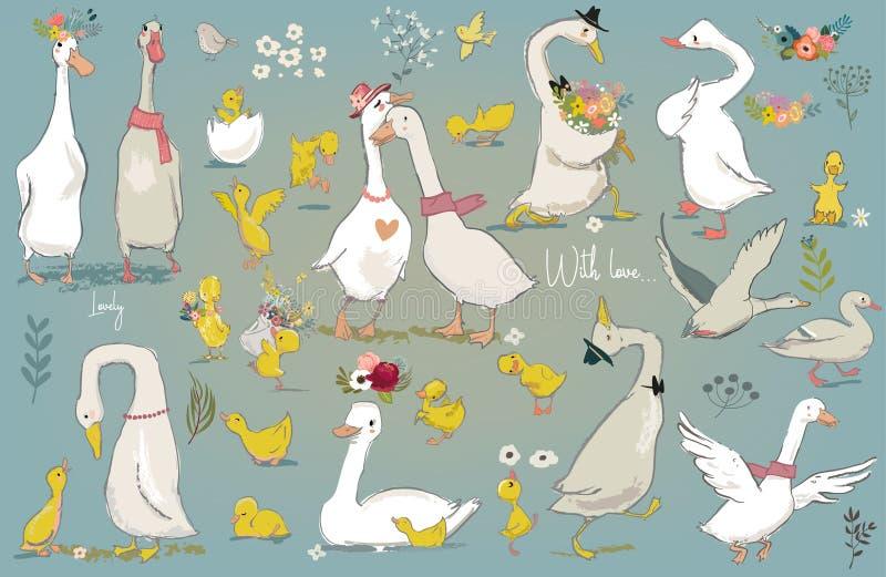 Metta con gli uccelli svegli dell'azienda agricola illustrazione vettoriale