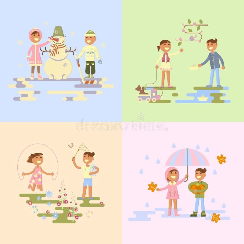 Metta con i bambini illustrazione vettoriale