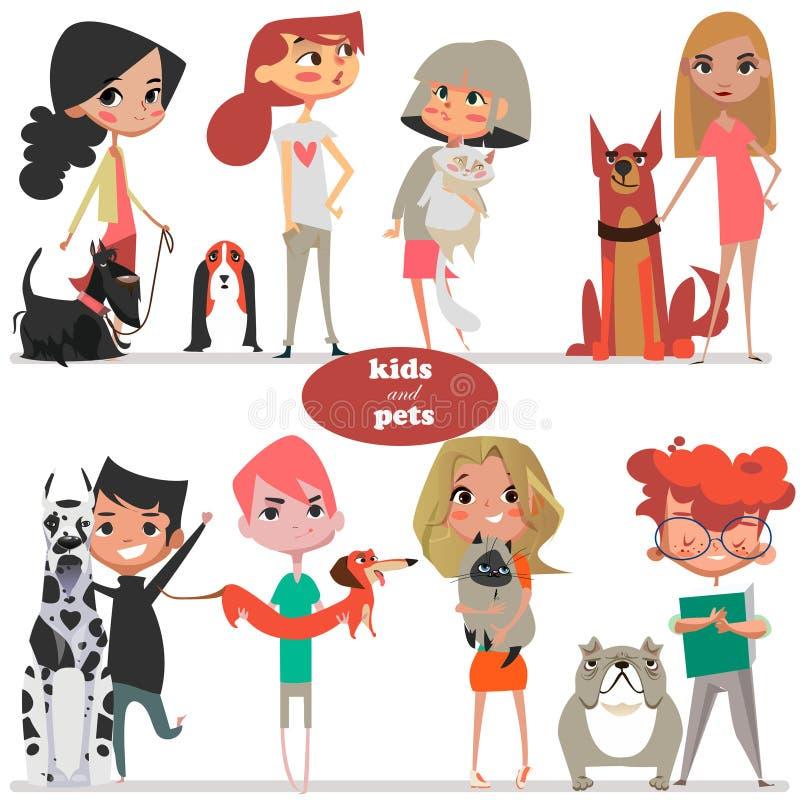 Metta con i bambini e gli animali domestici svegli del fumetto royalty illustrazione gratis