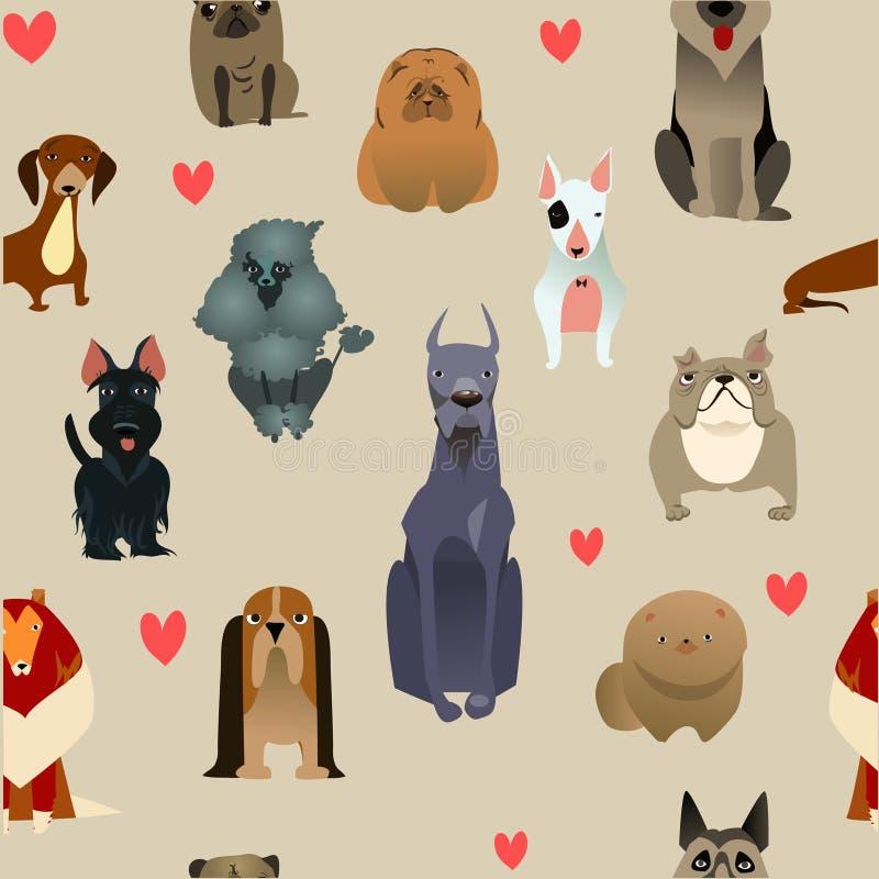 Metta con i cani di razza illustrazione vettoriale