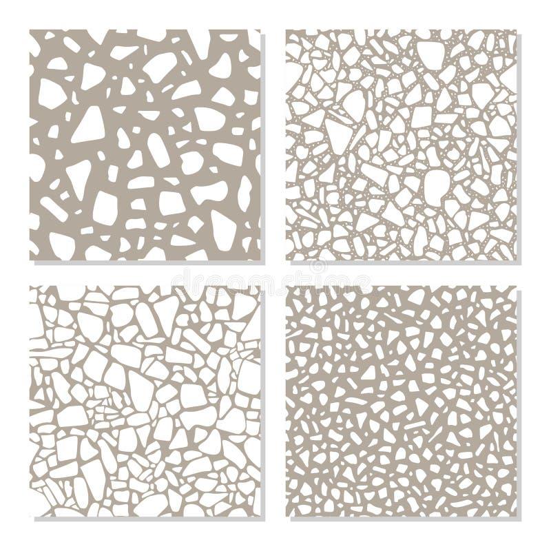 Metta con i modelli senza cuciture nello stile di terrazzo Strutture differenti della pavimentazione di pietra nel vettore royalty illustrazione gratis