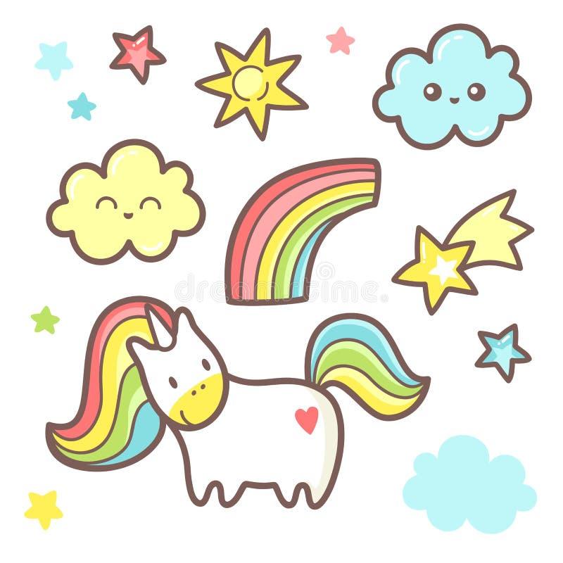 Metta con il grafico sveglio dell'unicorno Arcobaleno, nuvola, stelle e cometa illustrazione di stock