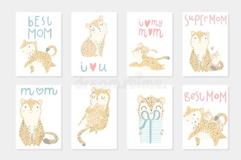Metta con il manifesto pronto per l'uso 8 per il giorno del ` s della madre con il leopardo sveglio della madre con il suo bambin illustrazione di stock