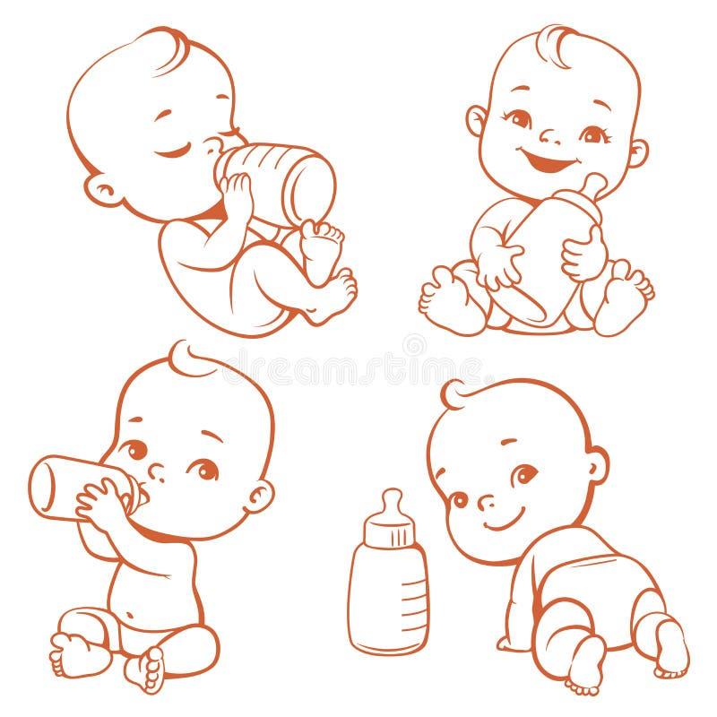 Metta con il piccolo bambino sveglio con la bottiglia di latte royalty illustrazione gratis