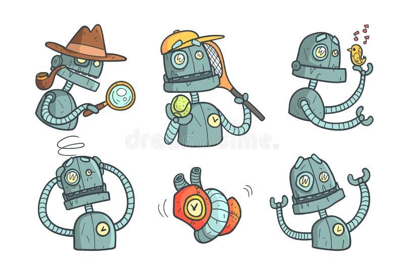 Metta con il robot del metallo con differenti emozioni Androide meccanico del fumetto nello stile del profilo con il materiale di illustrazione vettoriale