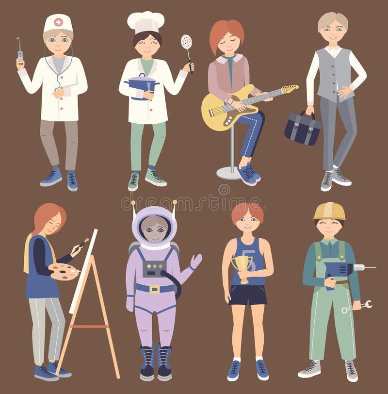 Metta con la gente delle professioni differenti illustrazione di stock