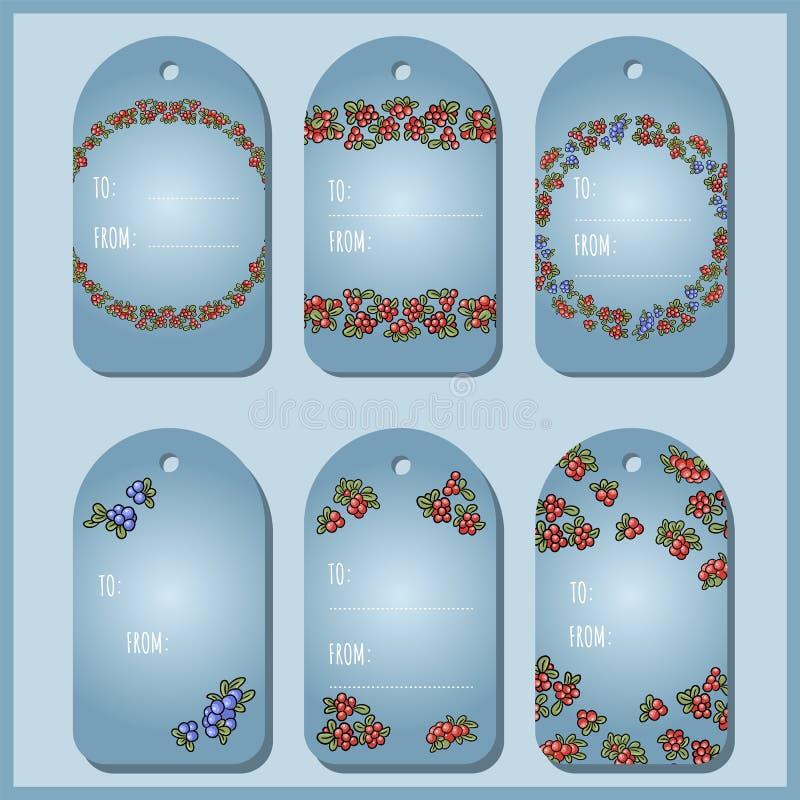Metta con le etichette rosse e blu del regalo delle bacche Uva di monte, lingonberry, raccolta delle etichette di vettore del mir illustrazione vettoriale