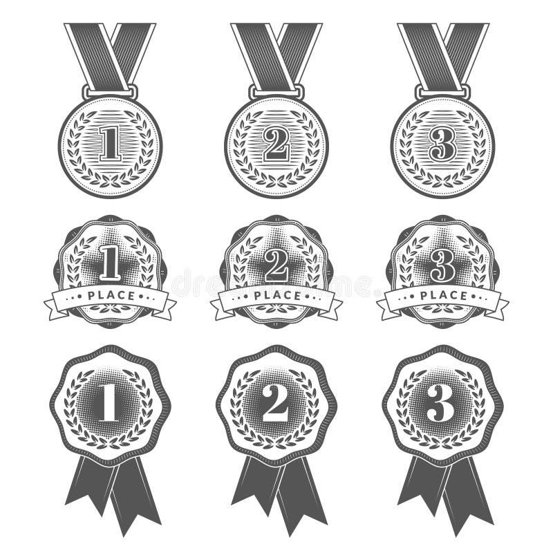 Metta con le icone piane della medaglia per gli in primo luogo, secondi e terzi posti royalty illustrazione gratis