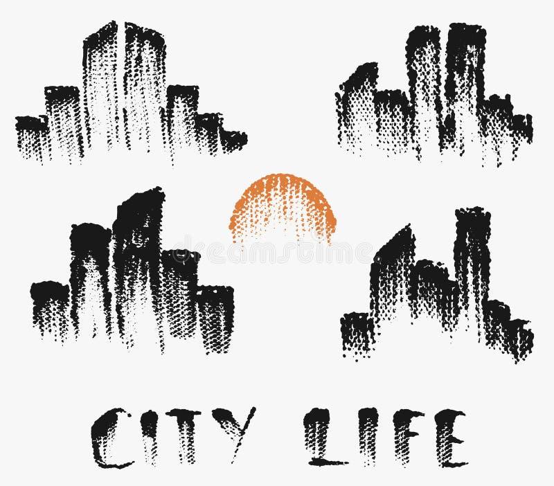 Metta con le siluette delle città nello stile di lerciume, stampe di semitono del nero su fondo bianco royalty illustrazione gratis