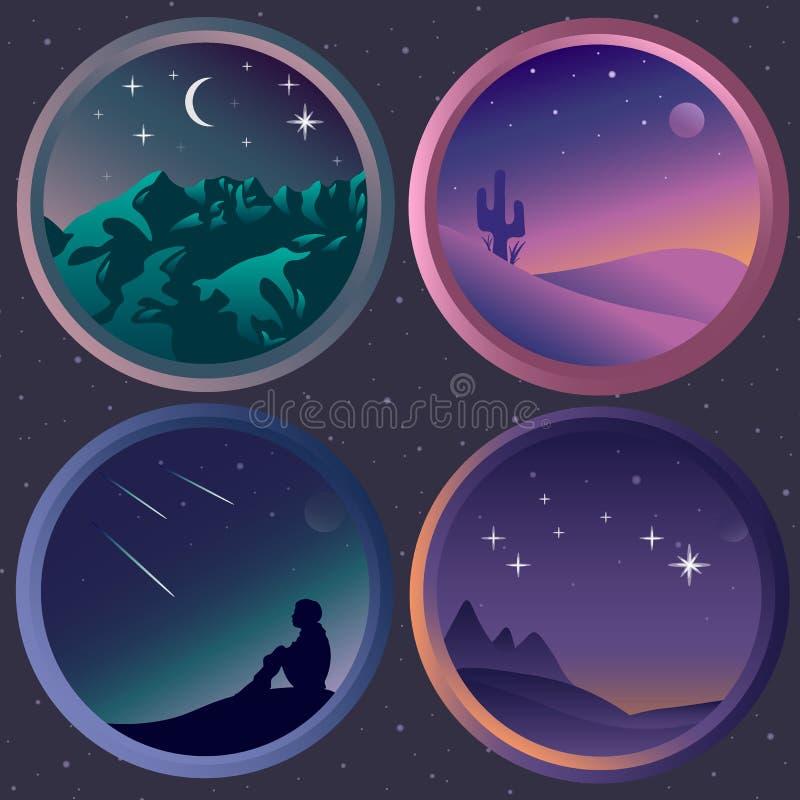 Metta con quattro paesaggi piani di notte con le stelle royalty illustrazione gratis