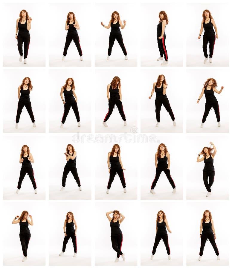 Metta dalle pose differenti di una donna ballante, una collezione di foto immagini stock libere da diritti