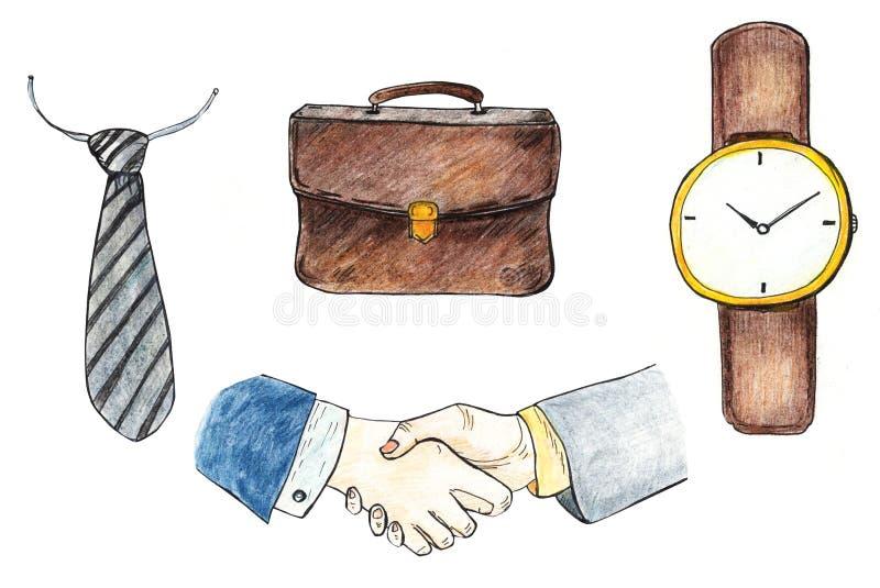 Metta degli accessori e del guardaroba degli uomini nell'affare isolati su fondo bianco Io llustration disegnato a mano con color illustrazione vettoriale