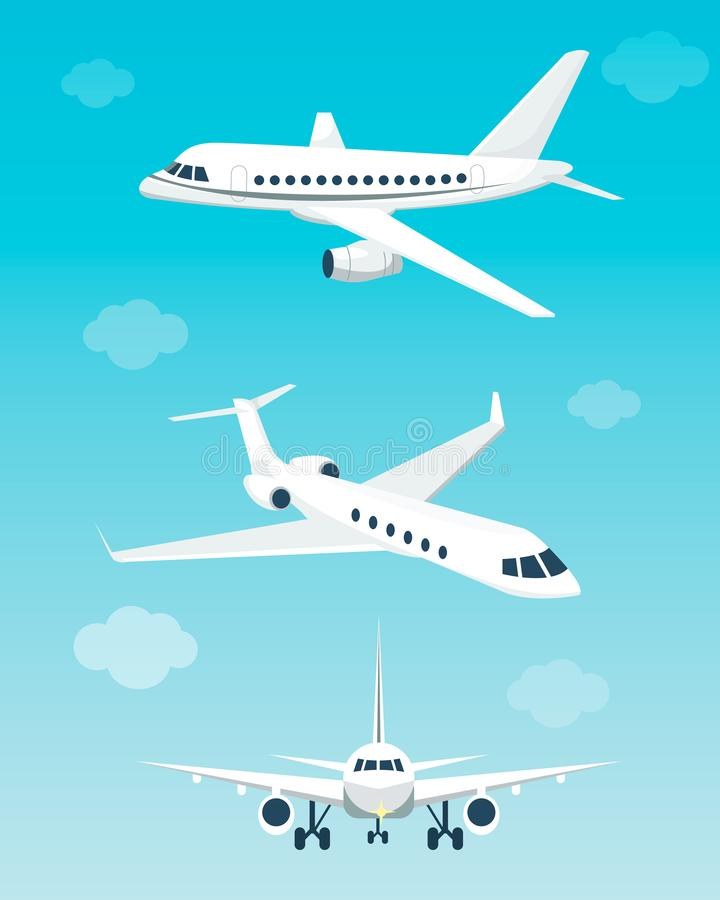 Metta degli aeroplani con differenti angoli royalty illustrazione gratis