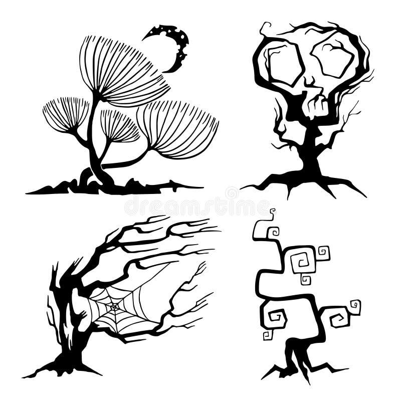 Metta degli alberi per Halloween Accumulazione delle siluette di Halloween Elementi per le decorazioni di Halloween Icone di vett royalty illustrazione gratis