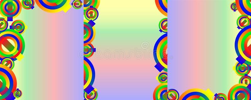 Metta degli ambiti di provenienza astratti, coperture con i cerchi colorati su un fondo di pendenza dell'arcobaleno illustrazione vettoriale