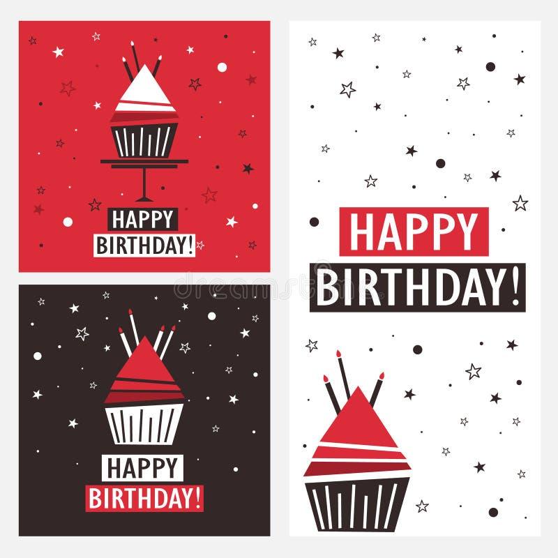 Metta degli ambiti di provenienza con il bigné ed il testo inglese Buon compleanno! royalty illustrazione gratis