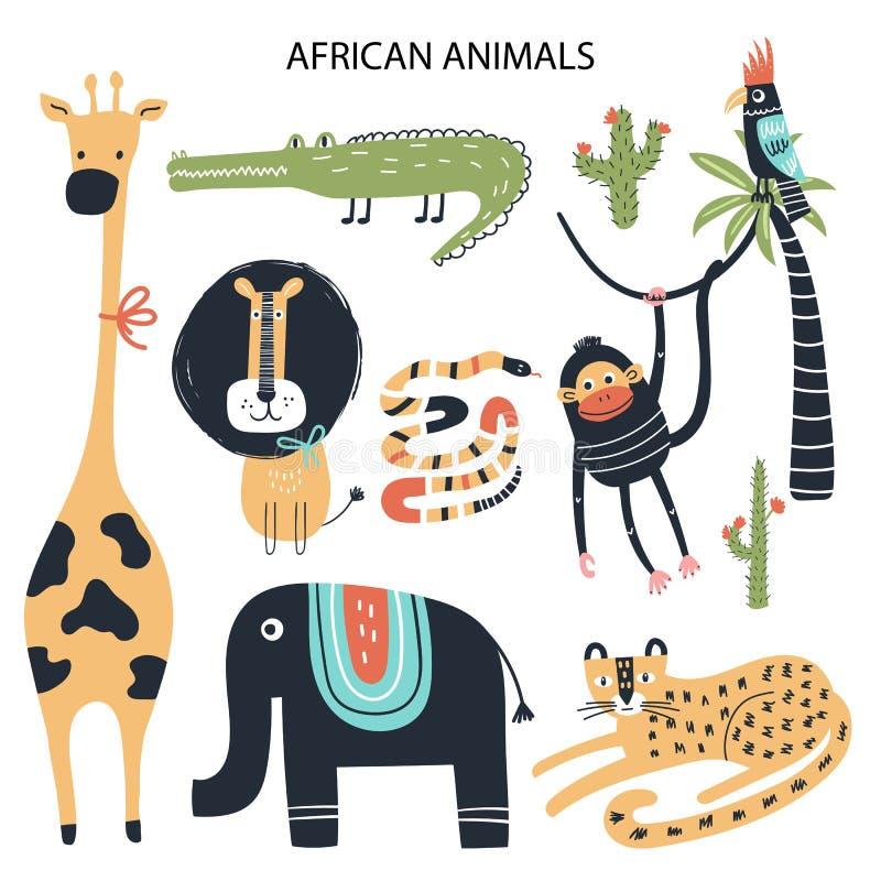 Metta degli animali africani del fumetto differente Raccolta di clipart disegnata a mano sveglia dei bambini Illustrazione di vet illustrazione di stock