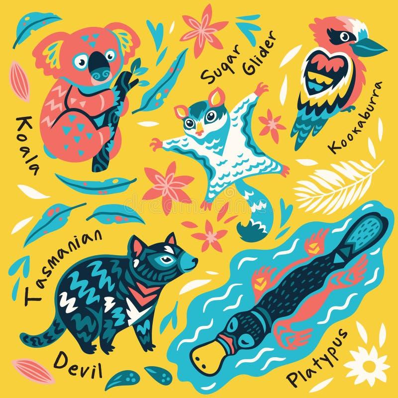 Metta degli animali australiani decorativi Illustrazione di vettore illustrazione di stock
