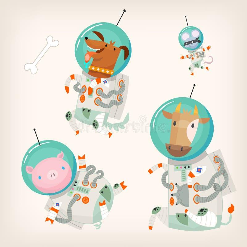 Metta degli animali da allevamento che portano le tute spaziali che galleggiano nello spazio cosmico illustrazione di stock
