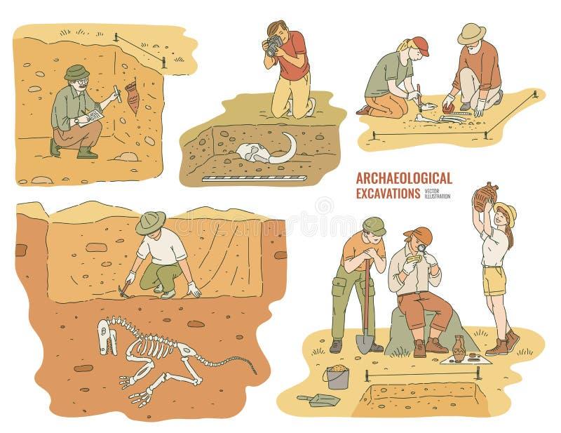 Metta degli archeologi che scavano i manufatti storici l'illustrazione di vettore che ha isolato illustrazione vettoriale