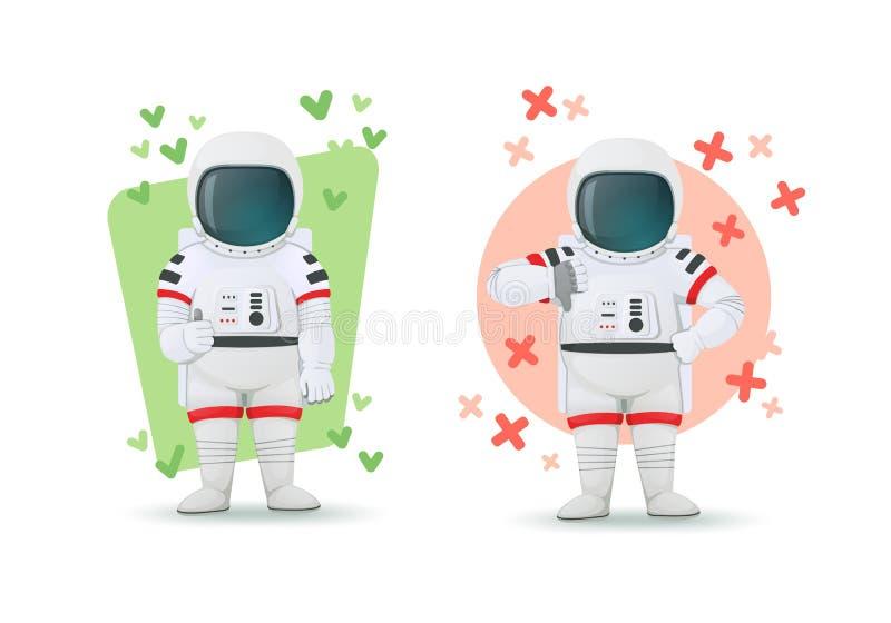 Metta degli astronauti che fanno i gesti dell'approvazione e della disapprovazione Pollici di mostra uno su ed altri pollici giù  illustrazione vettoriale