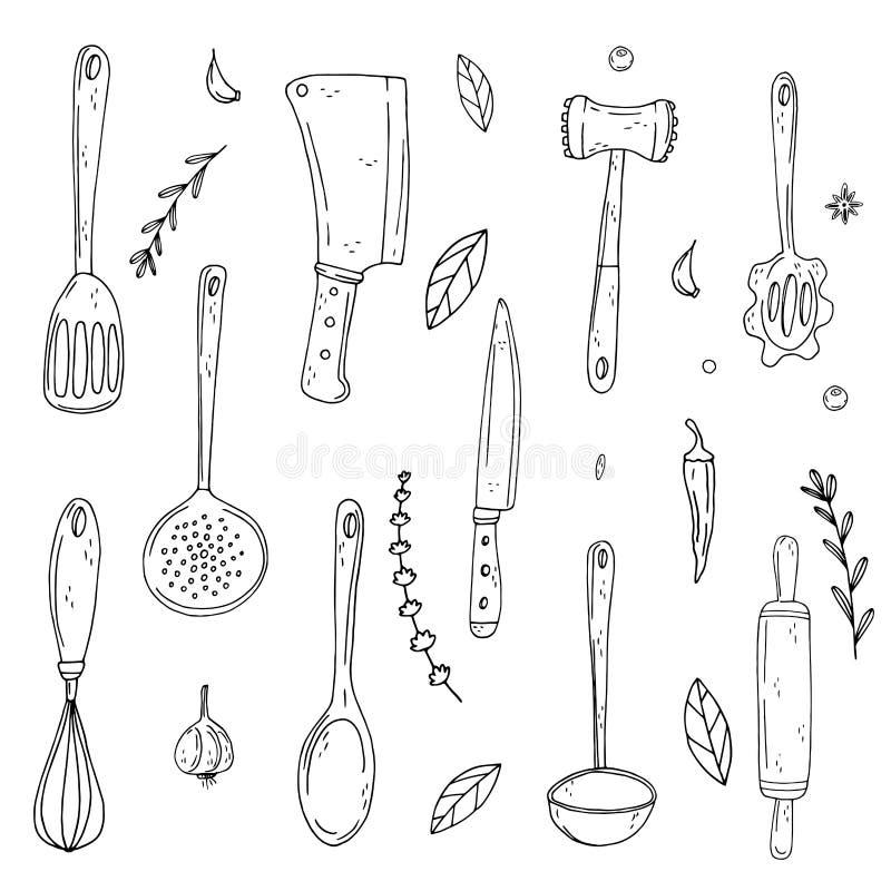 Metta degli elementi con gli strumenti disegnati a mano della cucina sull'isolato su un fondo bianco royalty illustrazione gratis