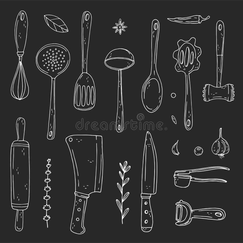 Metta degli elementi con l'attrezzatura di cottura disegnata a mano su un fondo della lavagna illustrazione vettoriale