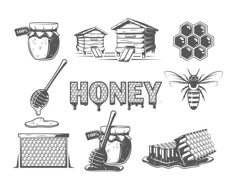 Metta degli elementi del miele illustrazione di stock