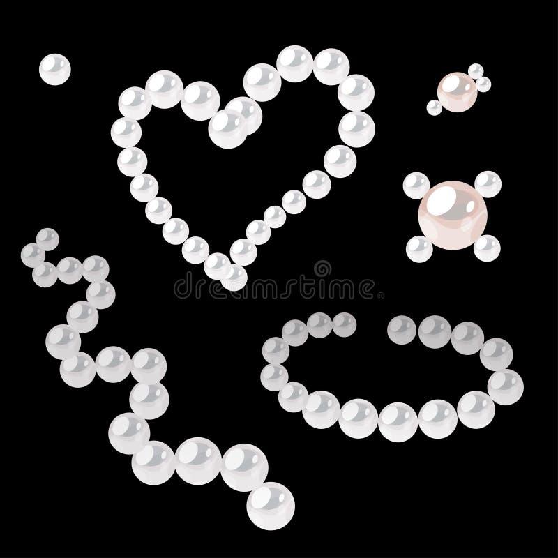 Metta degli elementi della perla per decorare Cuore, collana dell'onda e pochi broches illustrazione di stock