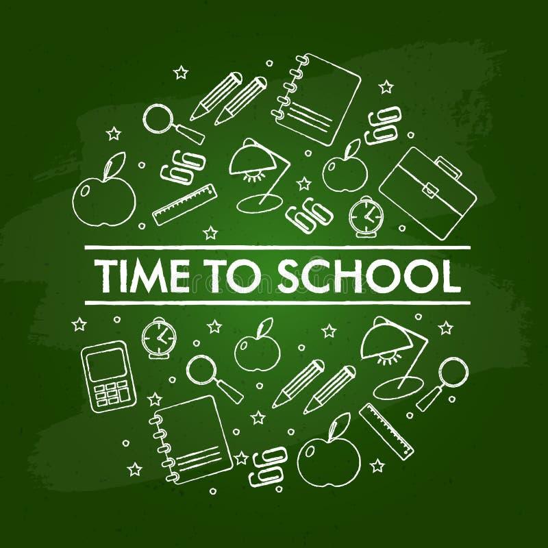Metta degli elementi della scuola sulla lavagna verde illustrazione di stock