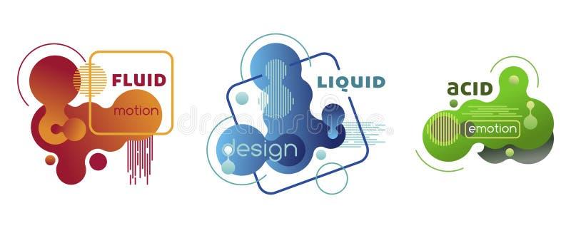 Metta degli elementi di plastica di pendenza liquida Modelli di vettore illustrazione di stock