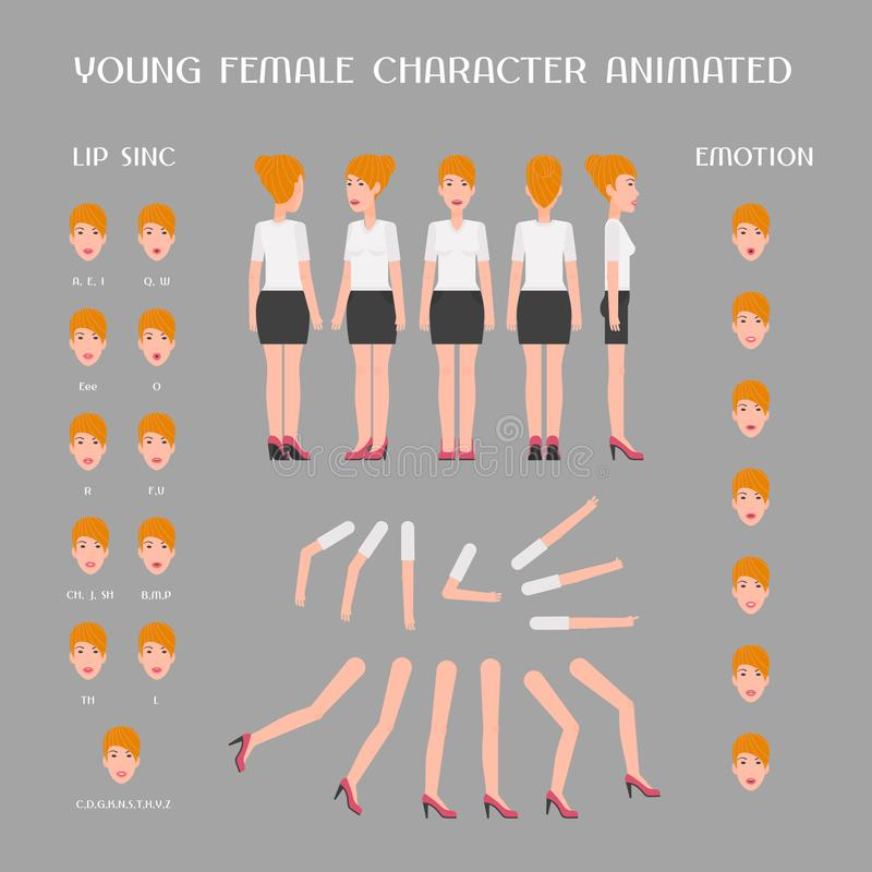 Metta degli elementi di vettore per la creazione e l'animazione del carattere femminile royalty illustrazione gratis