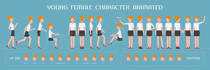 Metta degli elementi di vettore per la donna, la creazione del carattere della ragazza e l'animazione royalty illustrazione gratis