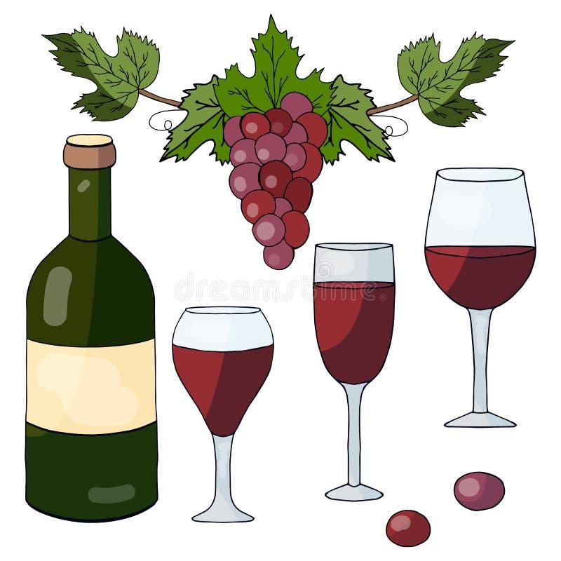 Metta degli elementi disegnati a mano: bottiglia con vino rosso, vetri e l'uva illustrazione vettoriale