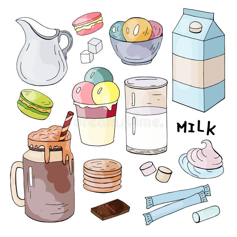 Metta degli elementi disegnati a mano con latte, gelato, i biscotti e le caramelle gommosa e molle illustrazione vettoriale