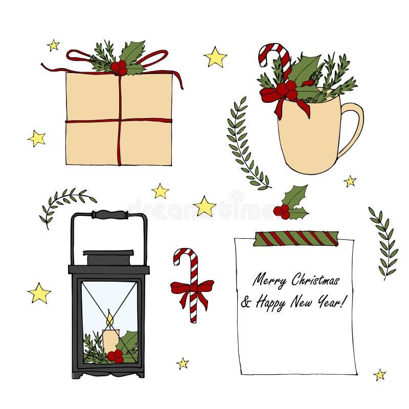 Metta degli elementi disegnati a mano di Buon Natale e del buon anno del fumetto Lanterna di scarabocchio di vettore, scatola di  illustrazione di stock