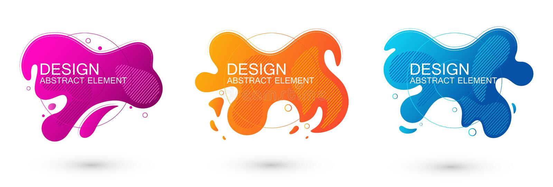 Metta degli elementi grafici di forma liquida astratta Progettazione variopinta del liquido di pendenza Modello per la presentazi illustrazione di stock