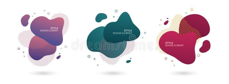 Metta degli elementi grafici moderni dell'estratto Forme e linea colorate dinamiche Insegne dell'estratto di pendenza con liquido illustrazione di stock