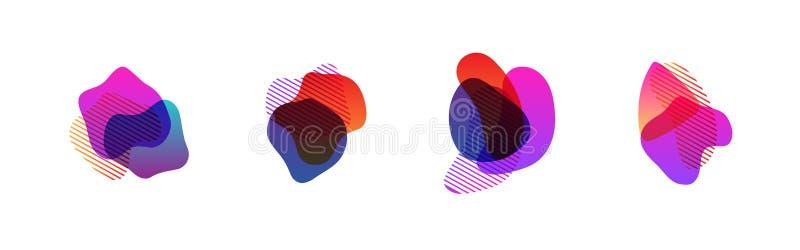 Metta degli elementi grafici moderni dell'estratto Insegne astratte di pendenza con le forme del liquido corrente illustrazione di stock
