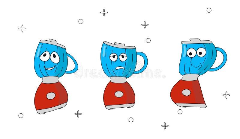 Metta degli elettrodomestici da cucina delle icone del fumetto con differenti emozioni Miscelatore rosso del carattere nello stil illustrazione vettoriale