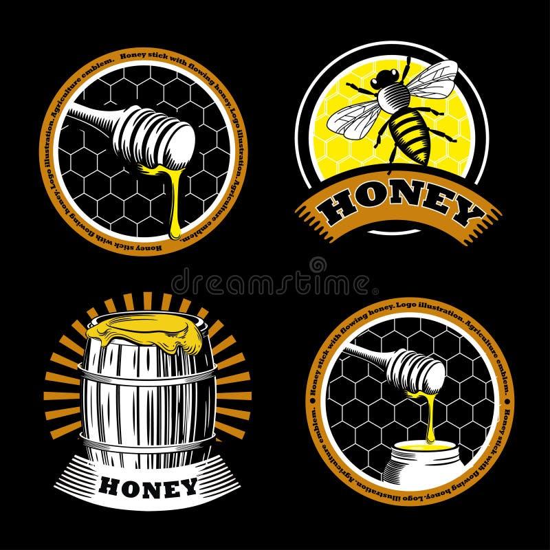Metta degli emblemi d'annata del miele Logo Illustrations Etichette di agricoltura su un fondo nero illustrazione di stock