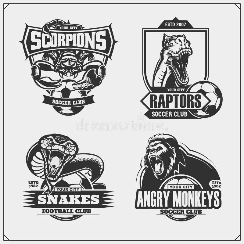 Metta degli emblemi di calcio e di calcio con il leone, la cobra, il dinosauro del rapace e lo scorpione Progettazione della stam illustrazione vettoriale