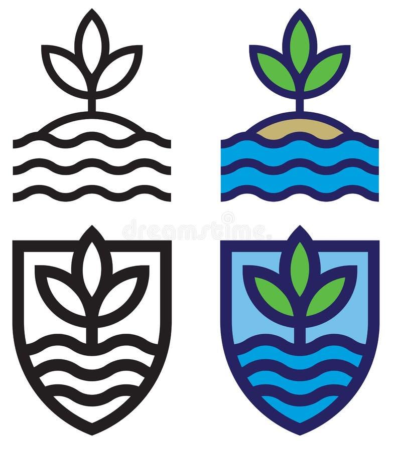 Metta degli emblemi linei mono della terra, del mare e del cielo fotografie stock