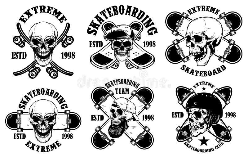 Metta degli emblemi pattinanti del club con i crani Elemento per il manifesto, logo, segno, etichetta, maglietta di progettazione illustrazione di stock