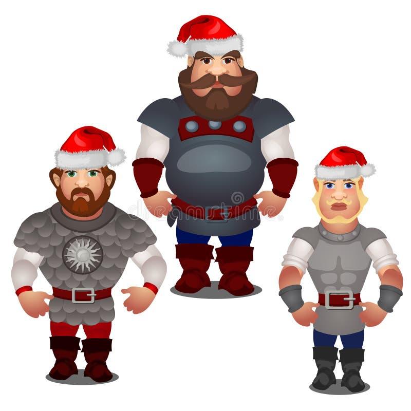 Metta degli eroi epici di folclore russo e dei racconti pieghi con i cappelli rossi di Santa Claus con il pompon isolato su bianc illustrazione vettoriale